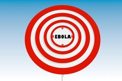 Road sign as target with ebola text Stock Photo