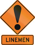 Road sign assembly in New Zealand - Linemen Royalty Free Stock Images
