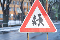 Road sign of attention to be close to school where can children Royalty Free Stock Image