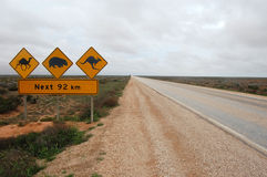 Road sign in Australia. Nullarbour Plain Stock Photo