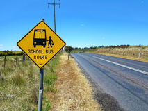 Road sign Australian school bus route. School bus zone in the remote Australian countryside stock photography