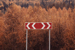 Road sign among autumn forest Royalty Free Stock Images
