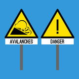 Road sign avalanches. Snowslide or snowslip rapid flow of snow. Road signs danger and avalanches. Snowslide rapid flow of snow down sloping surface. Caution to Royalty Free Stock Photo