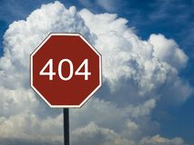 Road sign 404 on the background of the sky with clouds. The road sign 404 on the background of the sky with clouds stock images