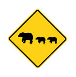 Road sign - bear crossing Royalty Free Stock Image