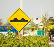 Road Sign beware knobbed Stock Photography
