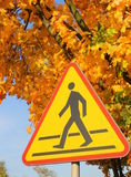 Road sign - beware of pedestrians. Stock Images