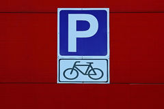 Road sign `Bicycle parking` Royalty Free Stock Images