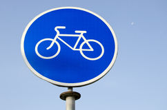 Road sign bicycle path. Stock Photos