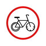 Road sign. Bicycle in the red circle stock illustration