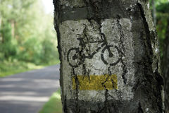 Road sign for bicyclist Stock Photos