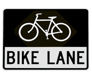 Road sign - bike lane Stock Photography