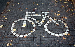 Road sign. Bike path in Bruges, Belgium. Road sign Stock Photography