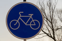 Road sign - bike path. Dutch road sign: route for pedal only moscow 2016 royalty free stock images