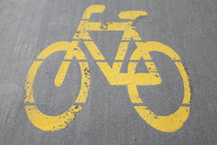 Road sign for bikes and cyclists outdoors. Bicycle way symbol on city street as a background stock photos