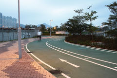 Road sign for bikes and cyclists outdoors at Tseung Kwan O, hong Stock Photo