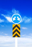 Road sign a blue sky background (Clipping Path) Stock Photo
