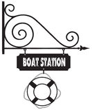Road sign boat station Stock Image