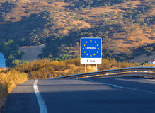 Road sign on the border, Spain Stock Images