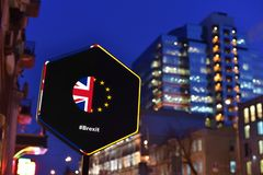 Road sign of Brexit concept stock photos