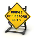 Road sign - bridge ices before road Stock Photography