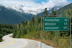 Road Sign in British Columbia royalty free stock image