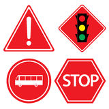 Road sign of bus stop, Hazard warning, red traffic sign on white background. Royalty Free Stock Photo