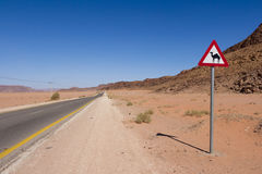 Road sign with a camel. Road with a triangular road sign with camel in Jordan Stock Images