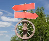 Road sign with cart-wheel on a pole Stock Photos
