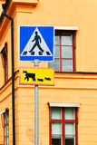 Road sign with cats Stock Images