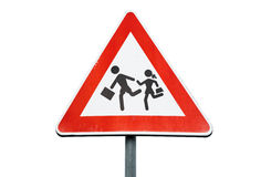 Road sign caution children isolated on white Royalty Free Stock Images