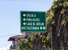 Road sign in central Guatemala. Guatemala road sign with Solola, Panajachel, Lago de Atitlan, and Quetzaltenango Stock Images
