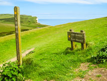 Road sign on chalk cliffs near Seven Sisters Country Park Stock Image