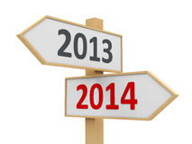 Road sign 2014. Road sign with 2013-2014 change on white background represents the new 2014, three-dimensional rendering stock illustration