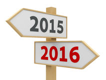 Road sign 2016. Road sign with 2015-2016 change on white background represents the new 2016, three-dimensional rendering Stock Image
