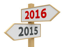 Road sign 2016. Road sign with 2015-2016 change on white background represents the new 2016, three-dimensional rendering Stock Photo