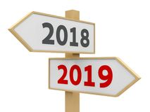 Road sign 2019. Road sign with 2018-2019 change on white background represents the new 2019 year, three-dimensional rendering, 3D illustration Royalty Free Stock Image
