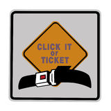 Road sign - click it or ticket. Yellow and black on white Royalty Free Stock Photos