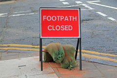 Road sign for a closed footpath Royalty Free Stock Images