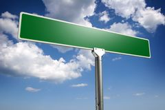 Road sign concept. Photorealistic 3D sky-high street sign concept, empty to be personalized with your own words