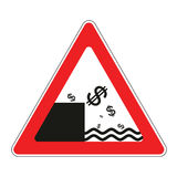 Road sign with concept of declining dollar stock illustration