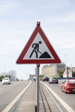 Road sign construction Stock Image