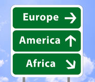 Road sign of continents 2 Stock Photos