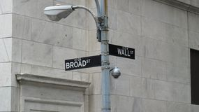 Road sign  at corner of Wall and  Broad streets  in New York Royalty Free Stock Photography