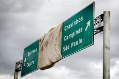 Road sign covered with a fabric Stock Image