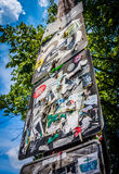 Road sign covered in stickers in Little Five Points, Atlanta, Ge Royalty Free Stock Photo