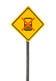 Road sign with crossed cell phone. Stock Photos