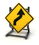Road sign - curve ahead Royalty Free Stock Image