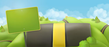 Road and sign, 3d cartoon nature landscape. Vector background, countryside panorama Royalty Free Stock Image