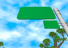 Road sign 3d illustration. Road sign and blue sky 3d illustration Stock Photography